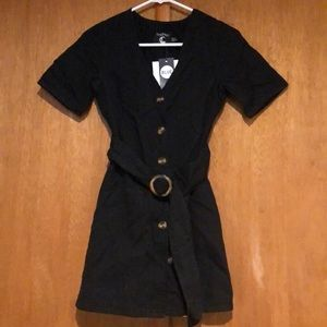 Button up black denim dress w/belt